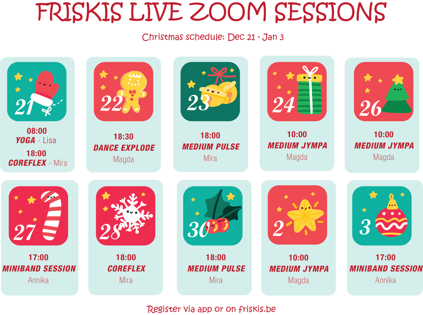 Zoom sessions XMAS 2020